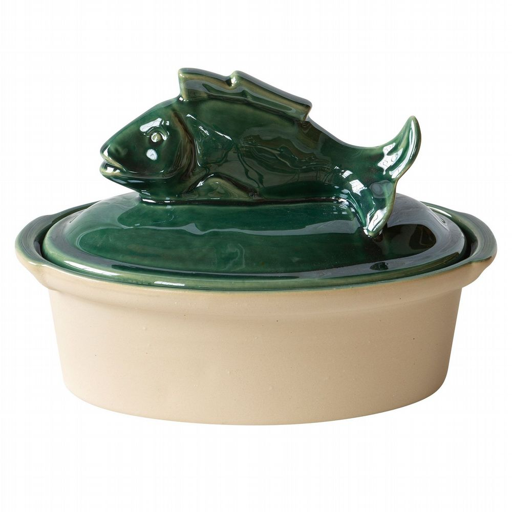 French Stoneware - Oval Terrine - Fish - Green